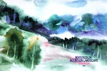 Watercolor mountain landscape