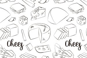 Hand drawn set of chees pattern