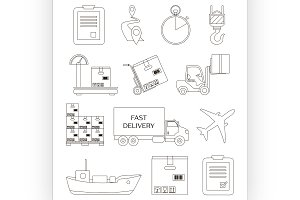 Shipping and delivery icons set