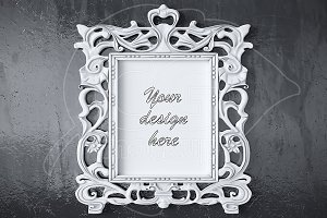 White antique frame mockup 8x10""