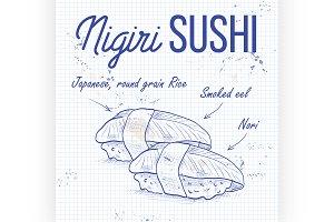 Vector nigiri sushi sketch