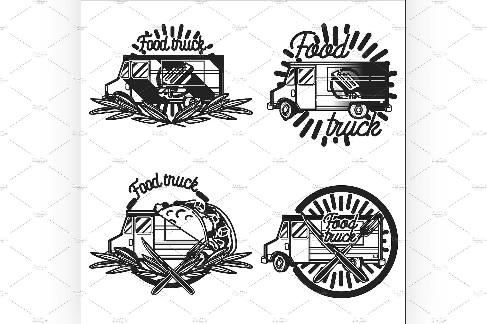 Vintage Food Truck Emblems Illustrations Creative Market
