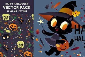 happy halloween vector black cat