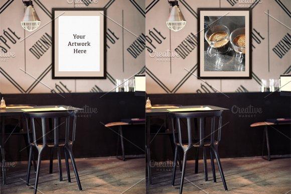 Download Mockup-Poster Frame at Restaurant