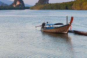 Sunset view of Krabi River, Krabi Town, Thailand