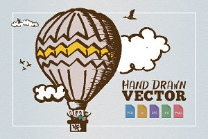 Hot Air Balloon Sketch Clouds Birds