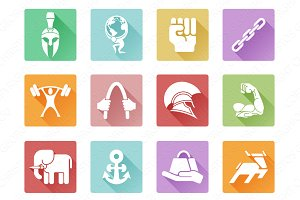 Strength icons flat, simple and fill