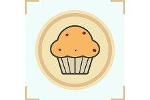 Cupcake color icon. Vector
