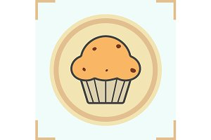 Cupcake color icon. Vector