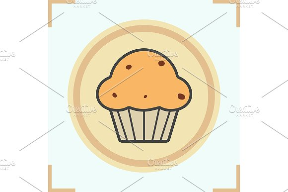 Cupcake color icon. Vector - Icons