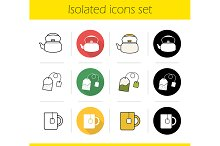Tea. 12 icons set. Vector