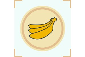 Bananas color icon. Vector