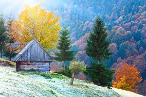 Autumn mountain and shed