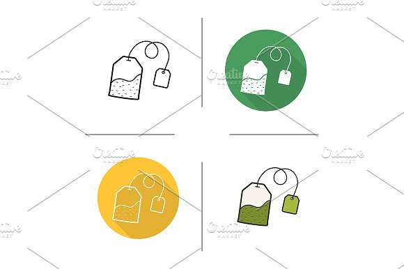 Tea bag. 4 icons. Vector - Icons