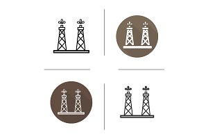 Oil tower. 4 icons. Vector