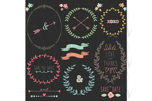 Chalkboard Wedding Laurels Frame