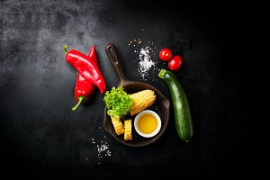 Frame of vegetables, healthy concept