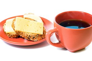 cup of tea and cheese sandwich