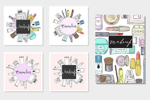 Hand drawn cosmetics set. Makeup. - Illustrations