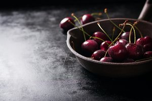 Closeup red cherry with copy space