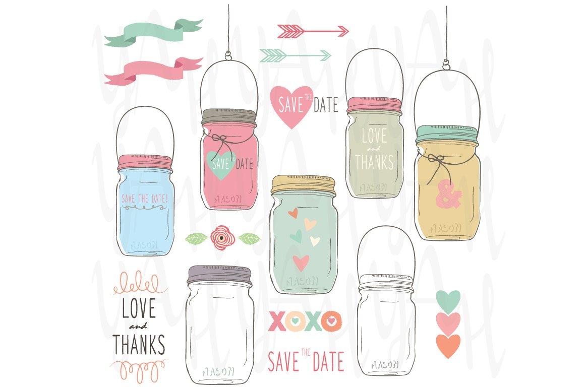 hand draw wedding mason jar illustrations creative market
