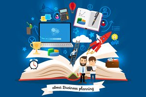 Open book with business strategy