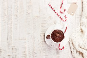 Cup of chocolate, christmas concept