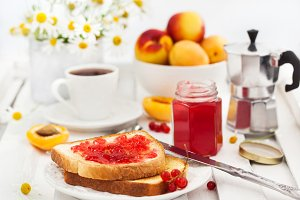 Breakfast with toast and jam