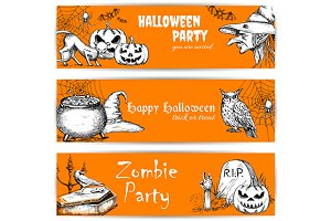 Orange Halloween banners set
