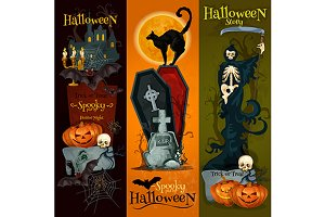 Halloween spooky party banners