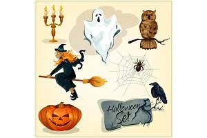 Funny creepy Halloween elements