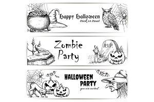 Halloween vector sketch banners