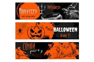 Halloween chalk sketch banners