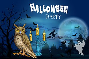 Halloween banner with owl and witch