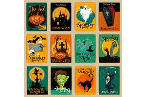 Retro Halloween holiday cards