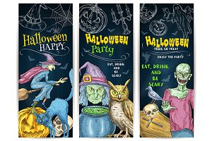 Halloween Party chalk banners