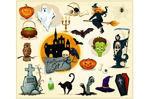 Halloween icons and symbols