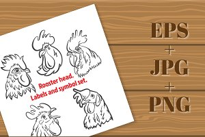 Rooster head. Labels set - 1