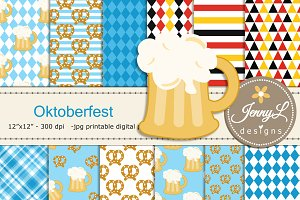 Oktoberfest Digital Papers & Clipart