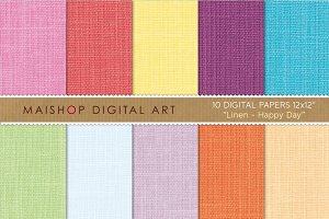 Digital Paper-Linen-Happy Day