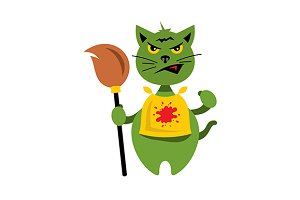 Cat with Witch Broomstick