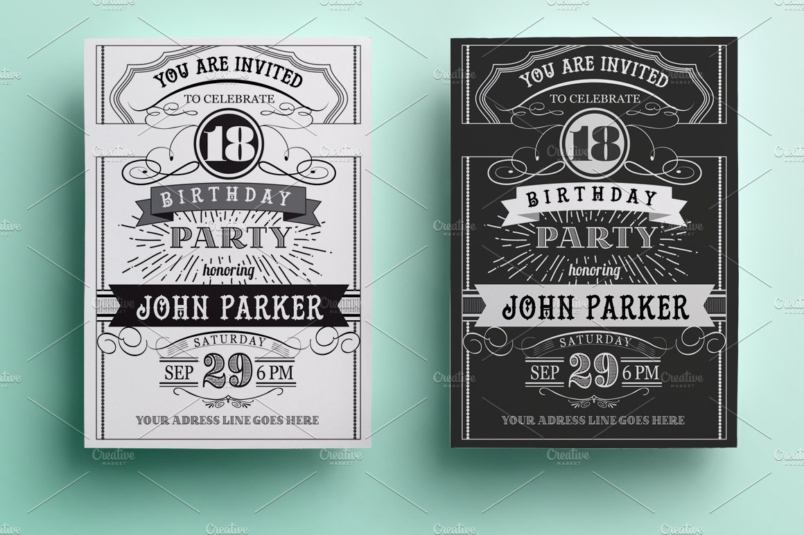 vintage birthday invitation invitation templates creative market. Black Bedroom Furniture Sets. Home Design Ideas