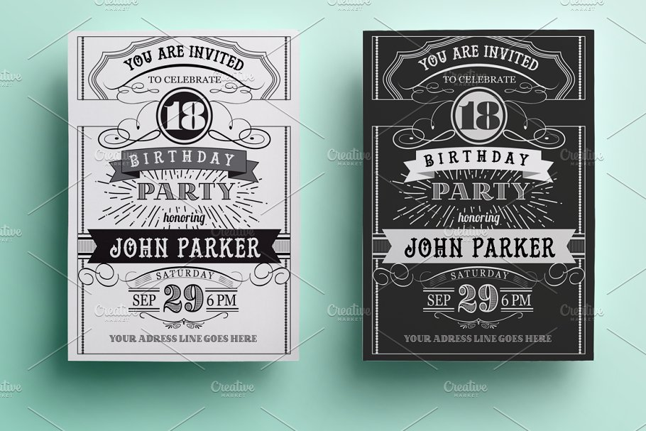 Vintage Birthday Invitation Templates Creative Market