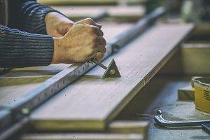 Carpenter scraping glue