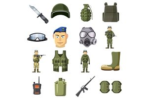 Military weapon icons set