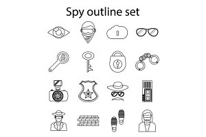 Spy icons set in outline style