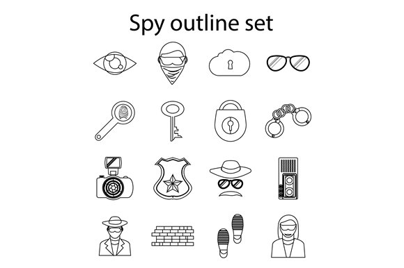 Spy icons set in outline style ~ Icons ~ Creative Market