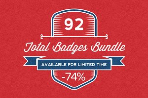 92 Vintage Badges Bundle - 85% OFF