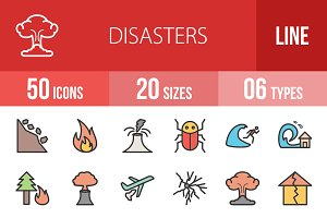 50 Disasters Line Filled Icons