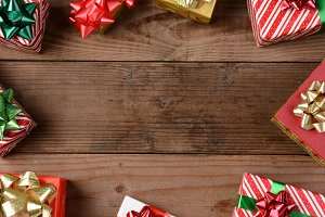 Rustic Wood Floor Christmas Presents